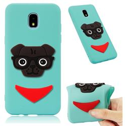Glasses Dog Soft 3D Silicone Case for Samsung Galaxy J7 (2018) - Sky Blue