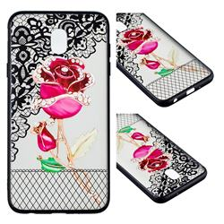 Rose Lace Diamond Flower Soft TPU Back Cover for Samsung Galaxy J7 (2018)