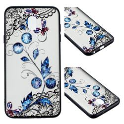 Butterfly Lace Diamond Flower Soft TPU Back Cover for Samsung Galaxy J7 (2018)