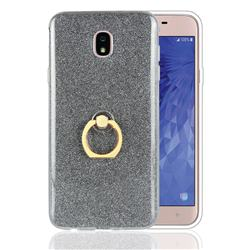 Luxury Soft TPU Glitter Back Ring Cover with 360 Rotate Finger Holder Buckle for Samsung Galaxy J7 (2018) - Black