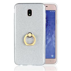 Luxury Soft TPU Glitter Back Ring Cover with 360 Rotate Finger Holder Buckle for Samsung Galaxy J7 (2018) - White