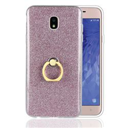 Luxury Soft TPU Glitter Back Ring Cover with 360 Rotate Finger Holder Buckle for Samsung Galaxy J7 (2018) - Pink