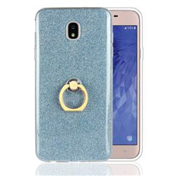 Luxury Soft TPU Glitter Back Ring Cover with 360 Rotate Finger Holder Buckle for Samsung Galaxy J7 (2018) - Blue