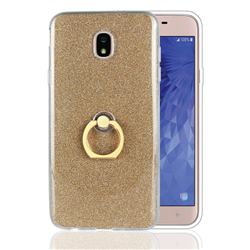 Luxury Soft TPU Glitter Back Ring Cover with 360 Rotate Finger Holder Buckle for Samsung Galaxy J7 (2018) - Golden