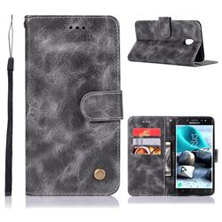 Luxury Retro Leather Wallet Case for Samsung Galaxy J7 (2018) - Gray