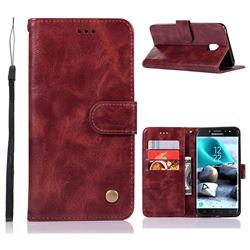 Luxury Retro Leather Wallet Case for Samsung Galaxy J7 (2018) - Wine Red
