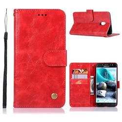 Luxury Retro Leather Wallet Case for Samsung Galaxy J7 (2018) - Red