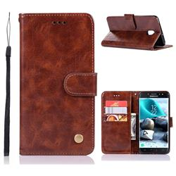 Luxury Retro Leather Wallet Case for Samsung Galaxy J7 (2018) - Brown
