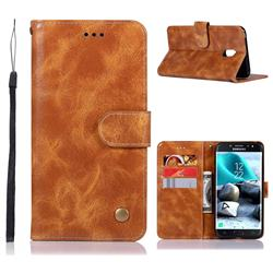 Luxury Retro Leather Wallet Case for Samsung Galaxy J7 (2018) - Golden
