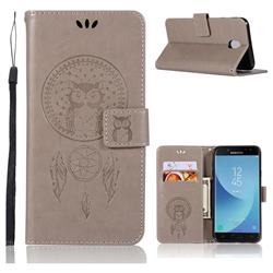 Intricate Embossing Owl Campanula Leather Wallet Case for Samsung Galaxy J7 (2018) - Grey