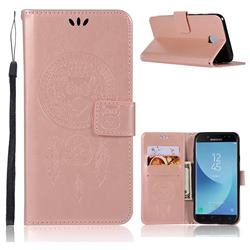 Intricate Embossing Owl Campanula Leather Wallet Case for Samsung Galaxy J7 (2018) - Rose Gold
