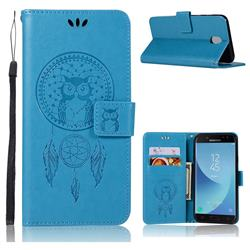 Intricate Embossing Owl Campanula Leather Wallet Case for Samsung Galaxy J7 (2018) - Blue