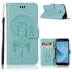 Intricate Embossing Owl Campanula Leather Wallet Case for Samsung Galaxy J7 (2018) - Green