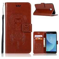Intricate Embossing Owl Campanula Leather Wallet Case for Samsung Galaxy J7 (2018) - Brown
