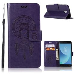 Intricate Embossing Owl Campanula Leather Wallet Case for Samsung Galaxy J7 (2018) - Purple