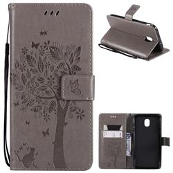 Embossing Butterfly Tree Leather Wallet Case for Samsung Galaxy J7 (2018) - Grey