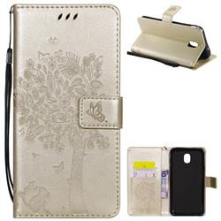 Embossing Butterfly Tree Leather Wallet Case for Samsung Galaxy J7 (2018) - Champagne