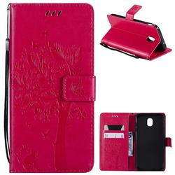Embossing Butterfly Tree Leather Wallet Case for Samsung Galaxy J7 (2018) - Rose