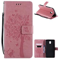 Embossing Butterfly Tree Leather Wallet Case for Samsung Galaxy J7 (2018) - Pink
