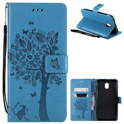Embossing Butterfly Tree Leather Wallet Case for Samsung Galaxy J7 (2018) - Blue
