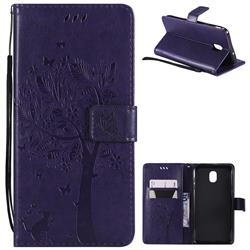 Embossing Butterfly Tree Leather Wallet Case for Samsung Galaxy J7 (2018) - Purple