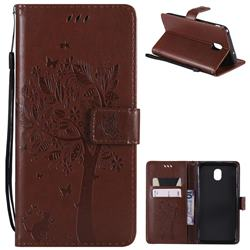 Embossing Butterfly Tree Leather Wallet Case for Samsung Galaxy J7 (2018) - Brown