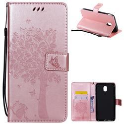 Embossing Butterfly Tree Leather Wallet Case for Samsung Galaxy J7 (2018) - Rose Pink