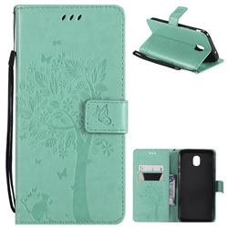 Embossing Butterfly Tree Leather Wallet Case for Samsung Galaxy J7 (2018) - Cyan