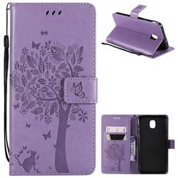 Embossing Butterfly Tree Leather Wallet Case for Samsung Galaxy J7 (2018) - Violet