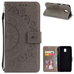 Intricate Embossing Datura Leather Wallet Case for Samsung Galaxy J7 (2018) - Gray