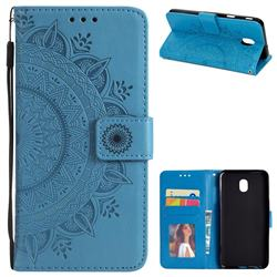 Intricate Embossing Datura Leather Wallet Case for Samsung Galaxy J7 (2018) - Blue