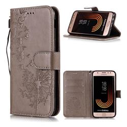Intricate Embossing Dandelion Butterfly Leather Wallet Case for Samsung Galaxy J7 (2018) - Gray