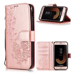 Intricate Embossing Dandelion Butterfly Leather Wallet Case for Samsung Galaxy J7 (2018) - Rose Gold