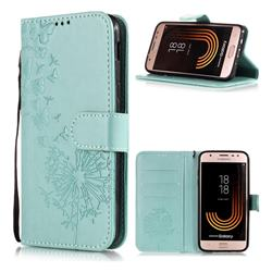 Intricate Embossing Dandelion Butterfly Leather Wallet Case for Samsung Galaxy J7 (2018) - Green