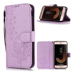 Intricate Embossing Dandelion Butterfly Leather Wallet Case for Samsung Galaxy J7 (2018) - Purple