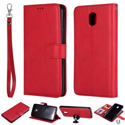 Retro Greek Detachable Magnetic PU Leather Wallet Phone Case for Samsung Galaxy J7 (2018) - Red