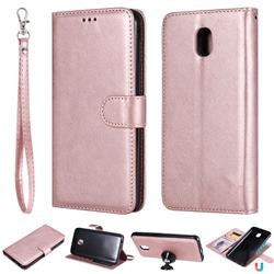 Retro Greek Detachable Magnetic PU Leather Wallet Phone Case for Samsung Galaxy J7 (2018) - Rose Gold