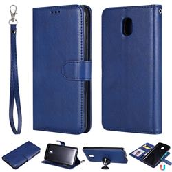 Retro Greek Detachable Magnetic PU Leather Wallet Phone Case for Samsung Galaxy J7 (2018) - Blue