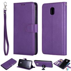 Retro Greek Detachable Magnetic PU Leather Wallet Phone Case for Samsung Galaxy J7 (2018) - Purple