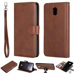 Retro Greek Detachable Magnetic PU Leather Wallet Phone Case for Samsung Galaxy J7 (2018) - Brown