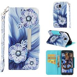 Button Flower Big Metal Buckle PU Leather Wallet Phone Case for Samsung Galaxy J7 (2018)