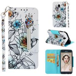 Fotus Flower Big Metal Buckle PU Leather Wallet Phone Case for Samsung Galaxy J7 (2018)