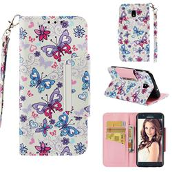 Colored Butterfly Big Metal Buckle PU Leather Wallet Phone Case for Samsung Galaxy J7 (2018)