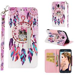 Owl Wind Chimes Big Metal Buckle PU Leather Wallet Phone Case for Samsung Galaxy J7 (2018)