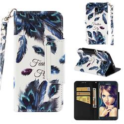 Peacock Feather Big Metal Buckle PU Leather Wallet Phone Case for Samsung Galaxy J7 (2018)