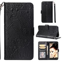 Embossing Fireworks Elephant Leather Wallet Case for Samsung Galaxy J7 (2018) - Black