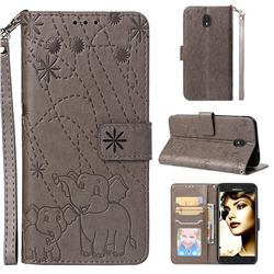 Embossing Fireworks Elephant Leather Wallet Case for Samsung Galaxy J7 (2018) - Gray