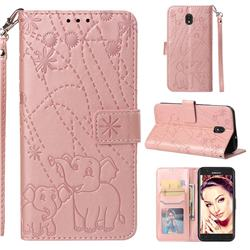 Embossing Fireworks Elephant Leather Wallet Case for Samsung Galaxy J7 (2018) - Rose Gold