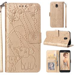 Embossing Fireworks Elephant Leather Wallet Case for Samsung Galaxy J7 (2018) - Golden
