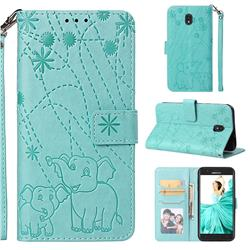 Embossing Fireworks Elephant Leather Wallet Case for Samsung Galaxy J7 (2018) - Green
